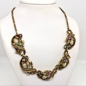 🆕Vintage Burnished Gold & Rhinestone Necklace